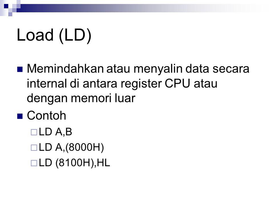 Load (LD) Memindahkan atau menyalin data secara internal di antara register CPU atau dengan memori luar.
