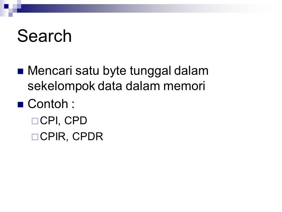 Search Mencari satu byte tunggal dalam sekelompok data dalam memori