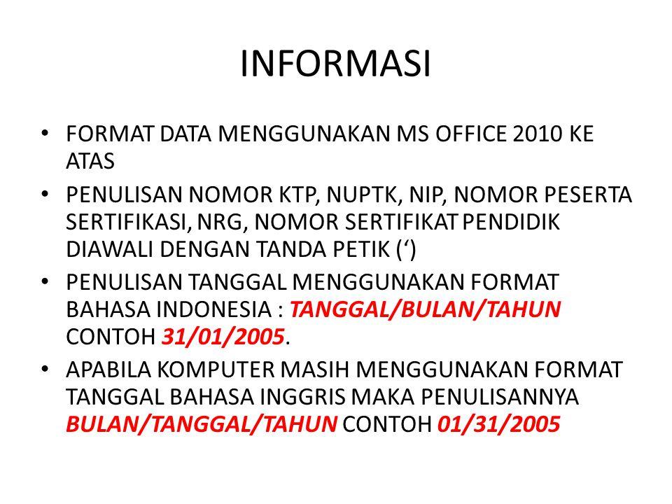 INFORMASI FORMAT DATA MENGGUNAKAN MS OFFICE 2010 KE ATAS