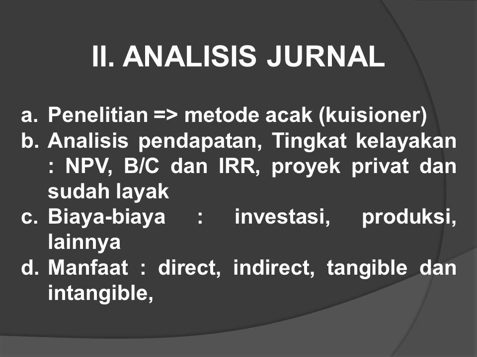 II. ANALISIS JURNAL Penelitian => metode acak (kuisioner)