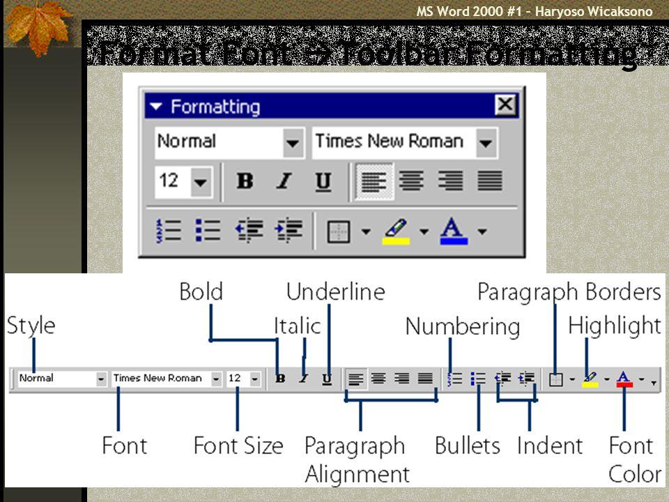 Format Font Toolbar Formatting