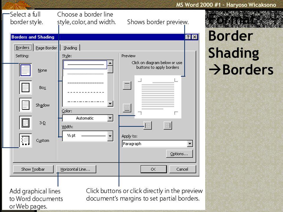 Format Border Shading Borders