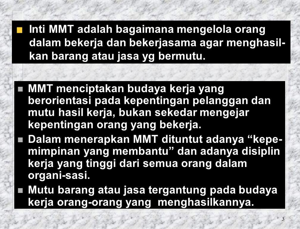 Inti MMT adalah bagaimana mengelola orang dalam bekerja dan bekerjasama agar menghasil-kan barang atau jasa yg bermutu.