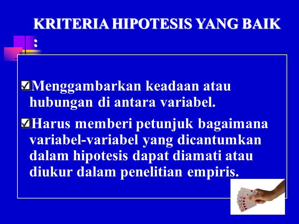 KRITERIA HIPOTESIS YANG BAIK :