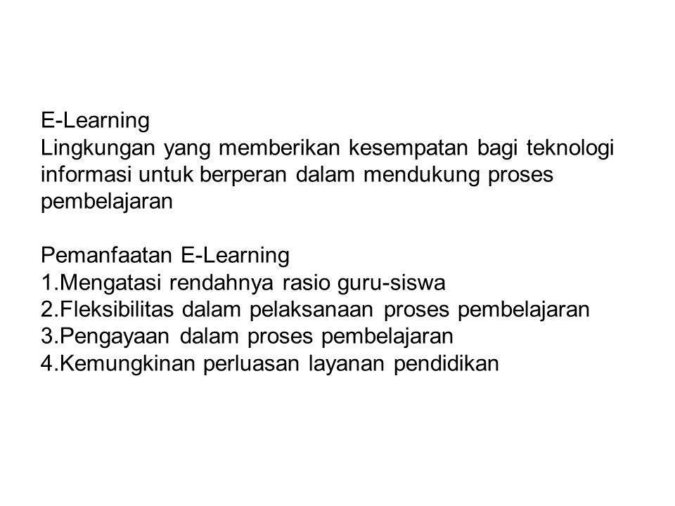 E-Learning Lingkungan yang memberikan kesempatan bagi teknologi informasi untuk berperan dalam mendukung proses pembelajaran Pemanfaatan E-Learning 1.Mengatasi rendahnya rasio guru-siswa 2.Fleksibilitas dalam pelaksanaan proses pembelajaran 3.Pengayaan dalam proses pembelajaran 4.Kemungkinan perluasan layanan pendidikan