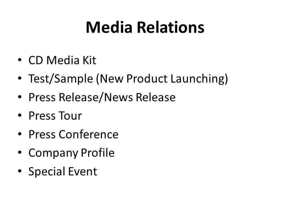 Media Relations CD Media Kit Test/Sample (New Product Launching)
