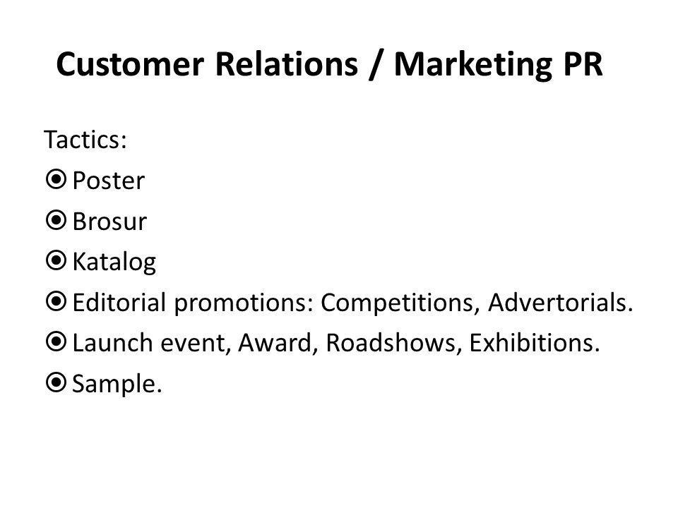 Customer Relations / Marketing PR