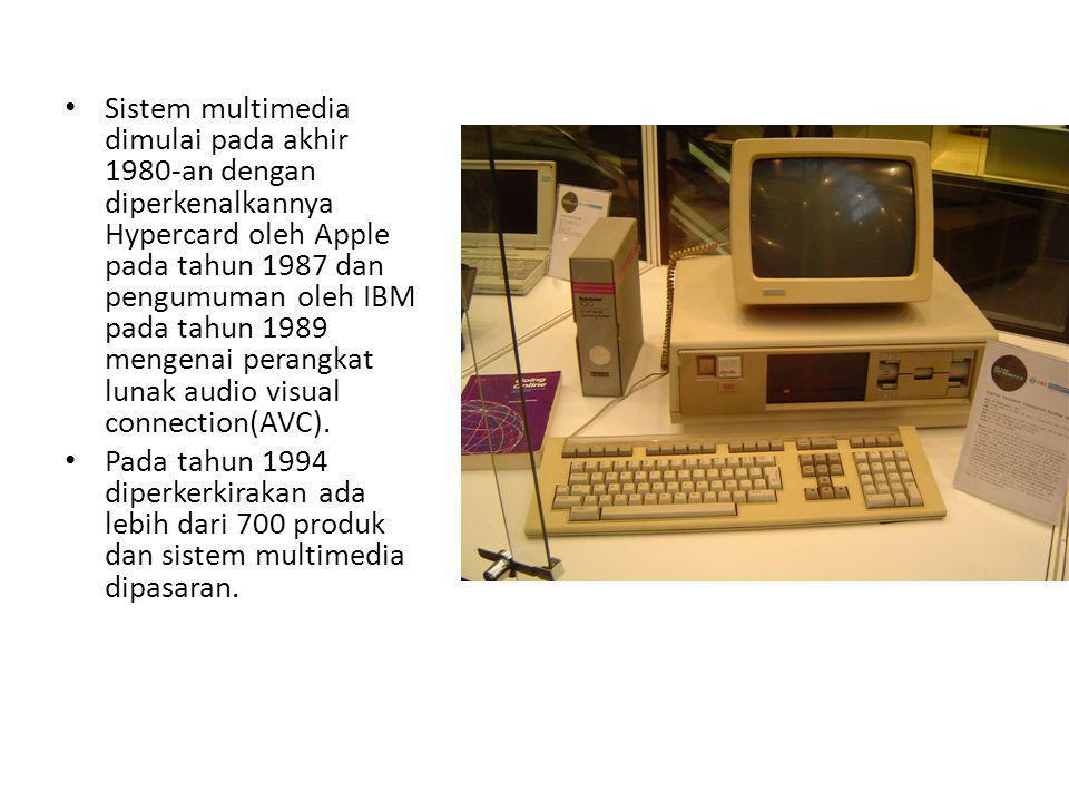 Sistem multimedia dimulai pada akhir 1980-an dengan diperkenalkannya Hypercard oleh Apple pada tahun 1987 dan pengumuman oleh IBM pada tahun 1989 mengenai perangkat lunak audio visual connection(AVC).
