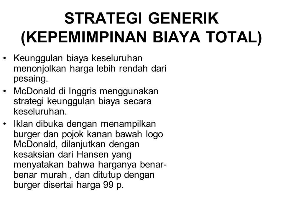 STRATEGI GENERIK (KEPEMIMPINAN BIAYA TOTAL)