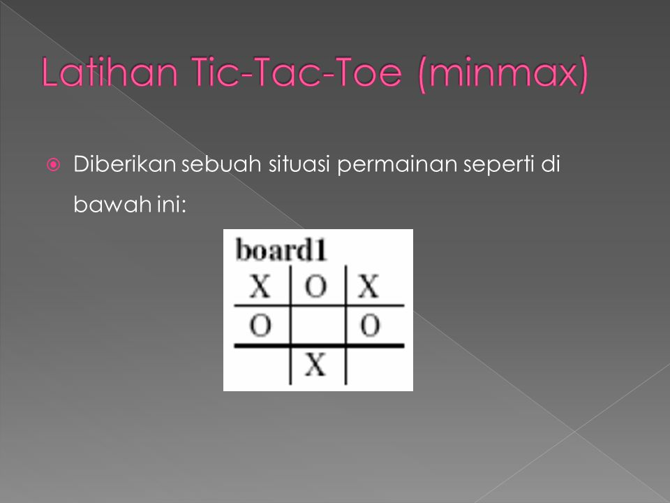 Latihan Tic-Tac-Toe (minmax)