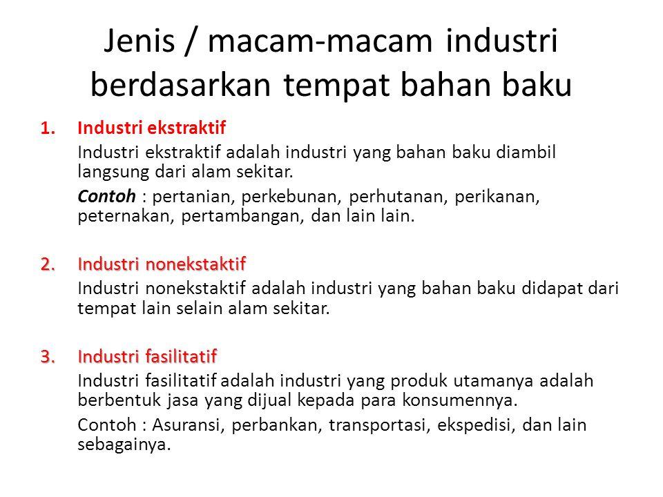 Jenis / macam-macam industri berdasarkan tempat bahan baku