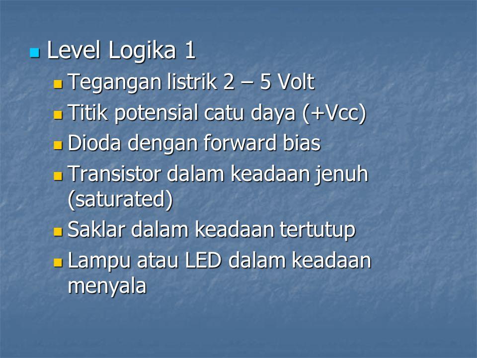 Level Logika 1 Tegangan listrik 2 – 5 Volt