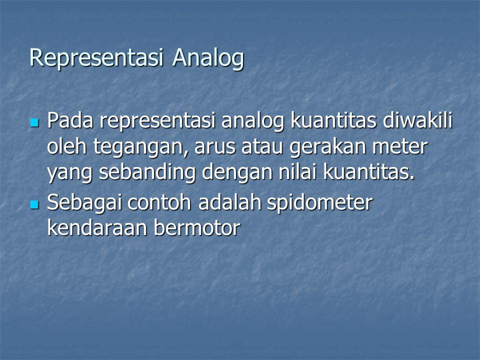 Representasi Analog Pada representasi analog kuantitas diwakili oleh tegangan, arus atau gerakan meter yang sebanding dengan nilai kuantitas.