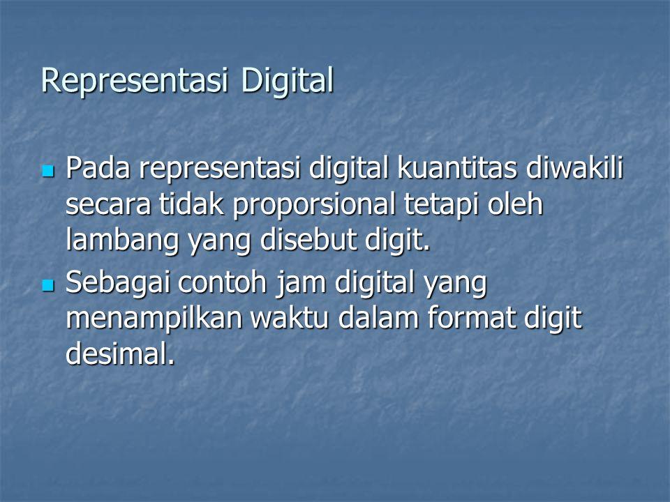 Representasi Digital Pada representasi digital kuantitas diwakili secara tidak proporsional tetapi oleh lambang yang disebut digit.