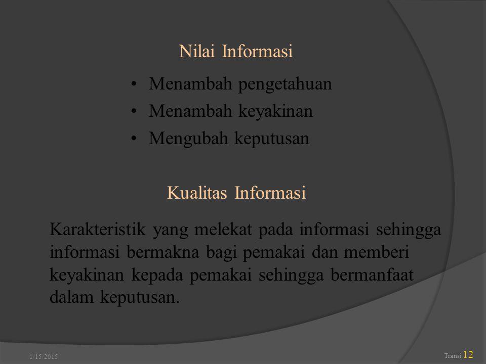 Nilai Informasi Menambah pengetahuan Menambah keyakinan