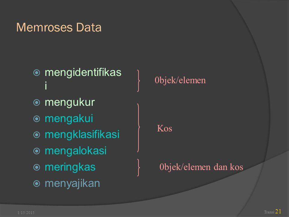 Memroses Data mengidentifikasi mengukur mengakui mengklasifikasi