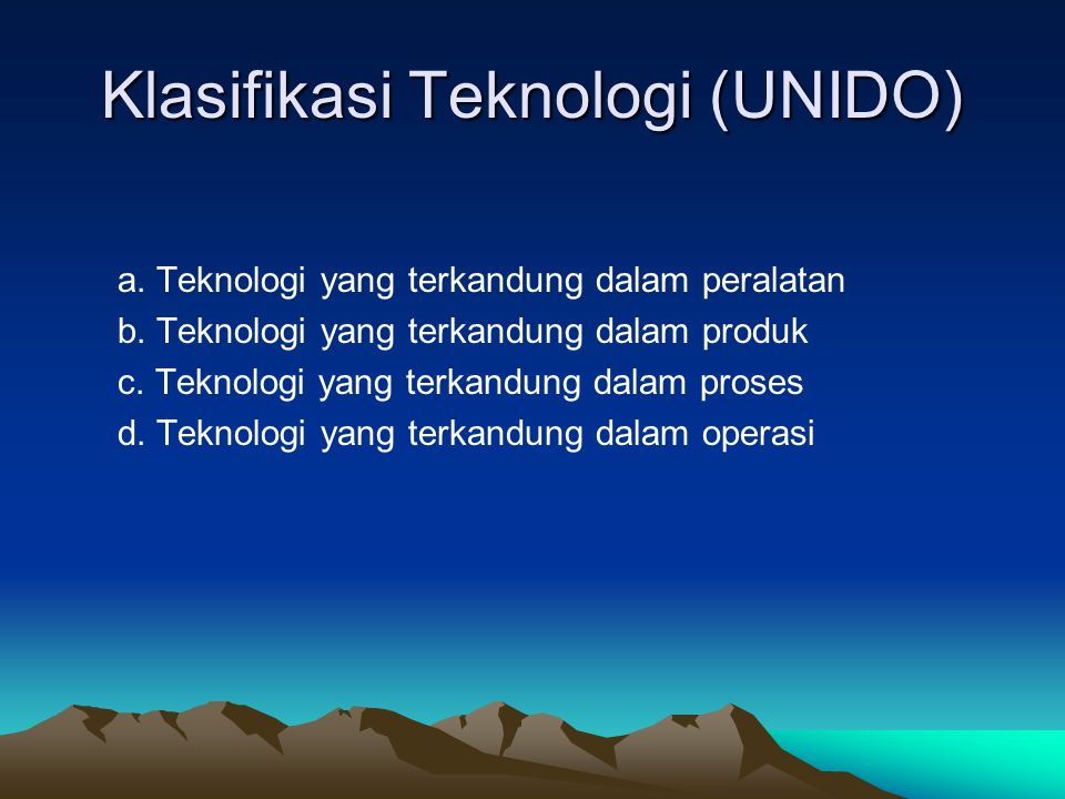 Klasifikasi Teknologi (UNIDO)