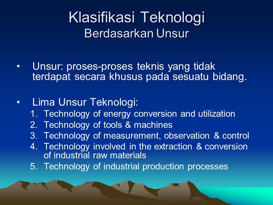 Klasifikasi Teknologi Berdasarkan Unsur
