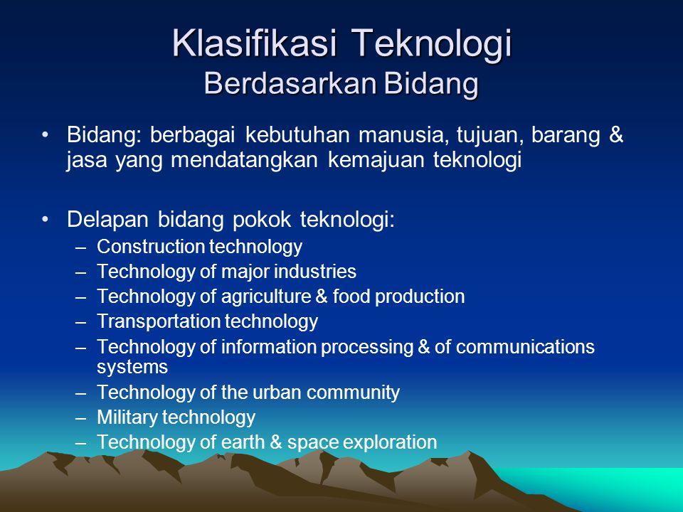 Klasifikasi Teknologi Berdasarkan Bidang