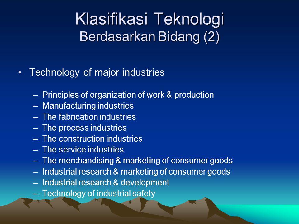 Klasifikasi Teknologi Berdasarkan Bidang (2)