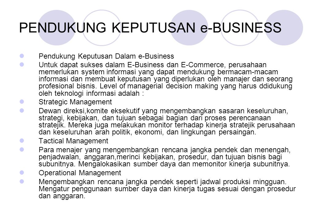 PENDUKUNG KEPUTUSAN e-BUSINESS