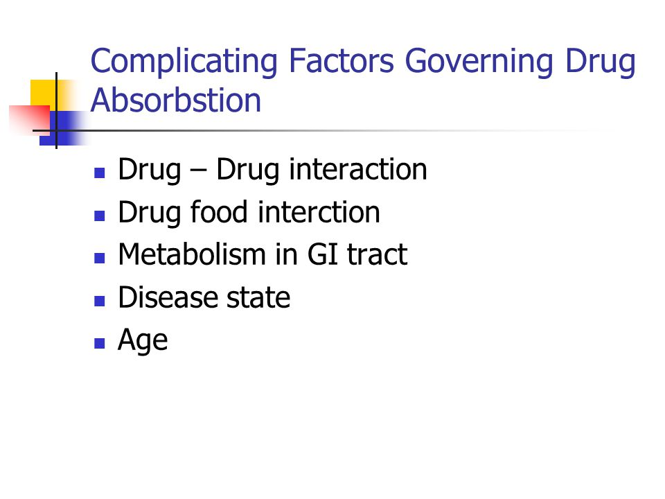 Complicating Factors Governing Drug Absorbstion