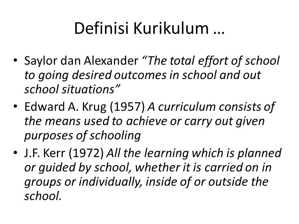 Definisi Kurikulum … Saylor dan Alexander The total effort of school to going desired outcomes in school and out school situations