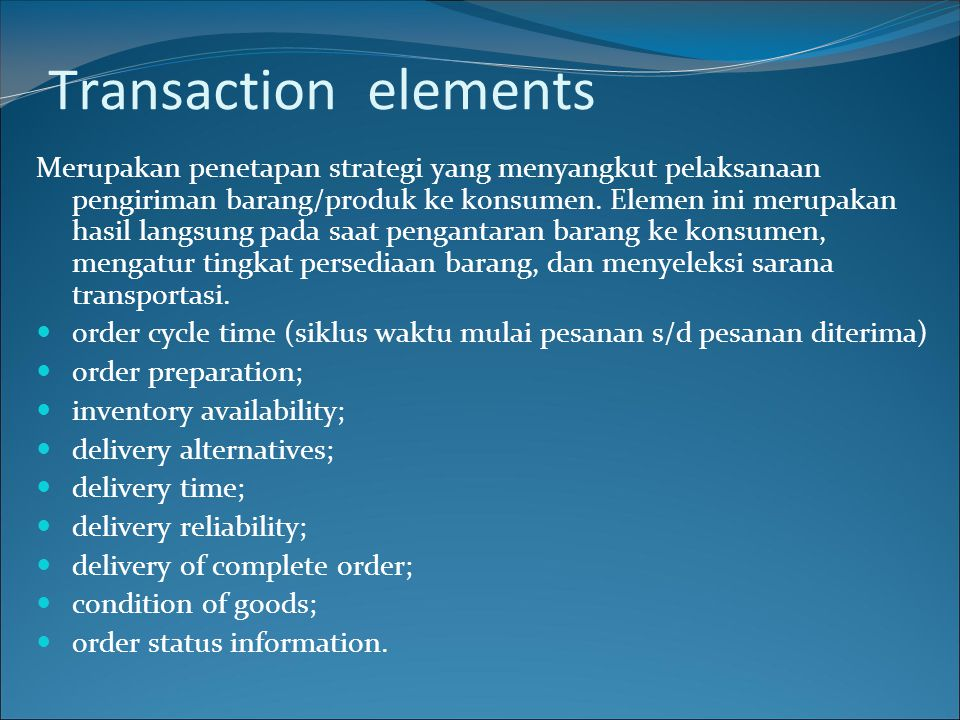 Transaction elements