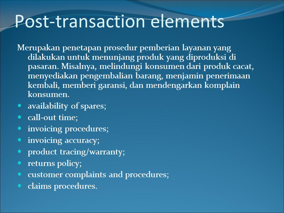Post-transaction elements