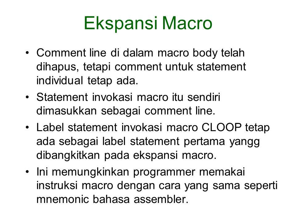 Ekspansi Macro Comment line di dalam macro body telah dihapus, tetapi comment untuk statement individual tetap ada.