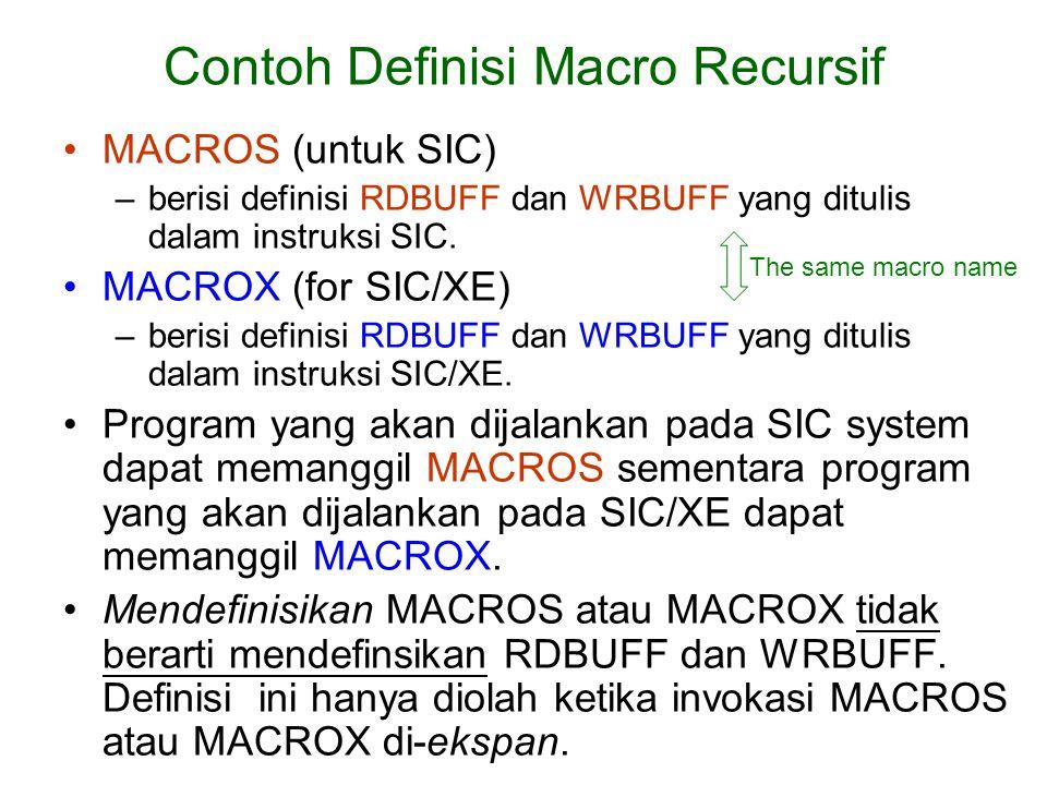 Contoh Definisi Macro Recursif