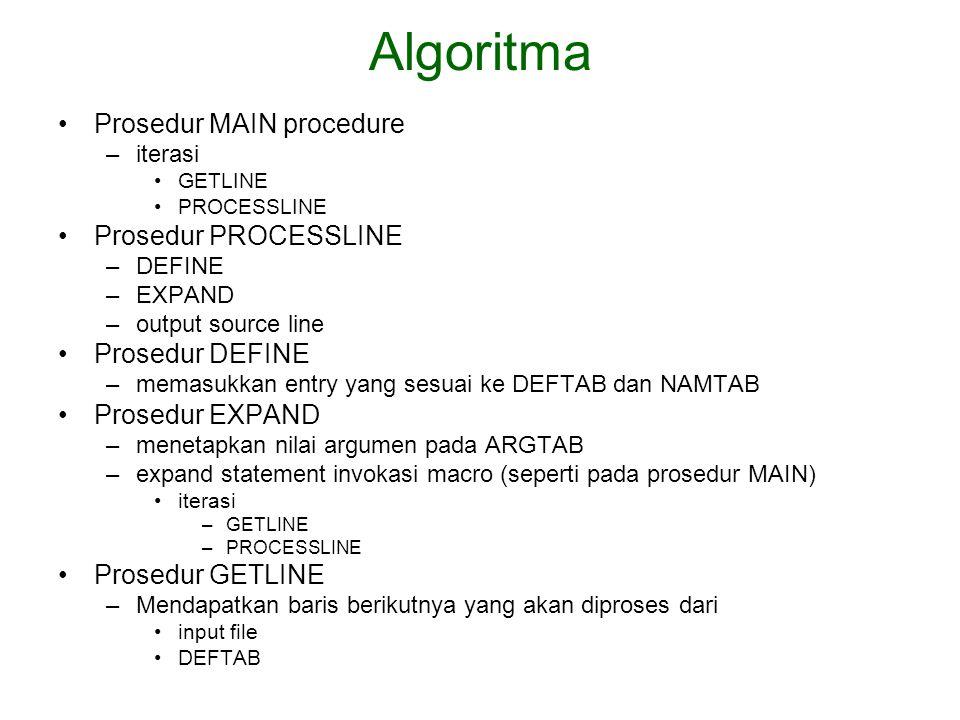 Algoritma Prosedur MAIN procedure Prosedur PROCESSLINE Prosedur DEFINE