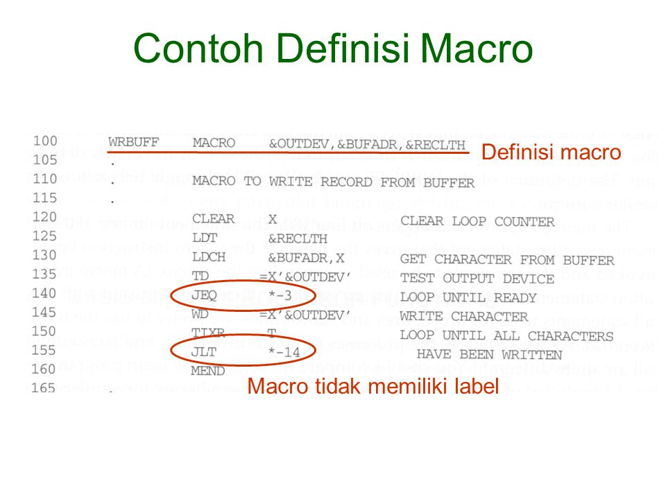 Contoh Definisi Macro Definisi macro Macro tidak memiliki label
