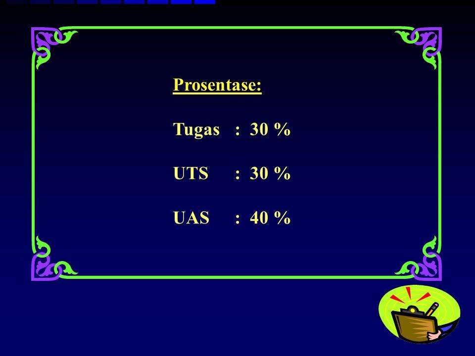 Prosentase: Tugas : 30 % UTS : 30 % UAS : 40 %