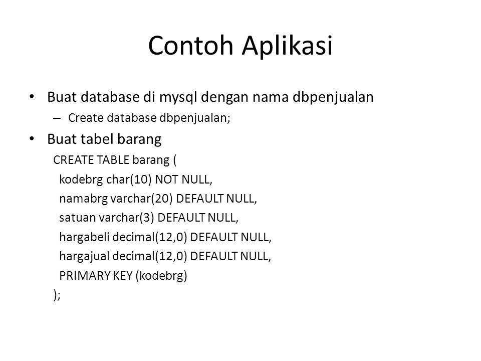 Contoh Aplikasi Buat database di mysql dengan nama dbpenjualan
