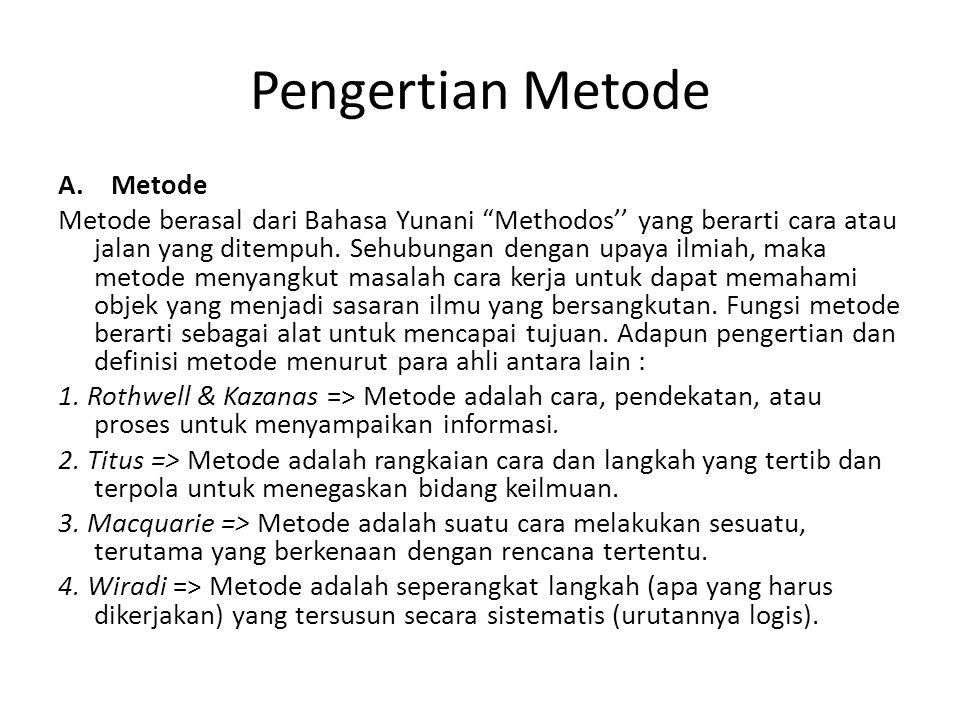 Pengertian Metode A. Metode