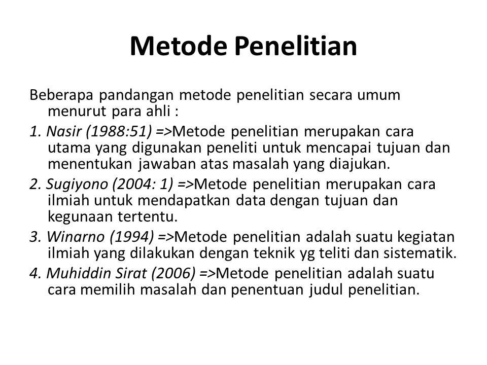 Metode Penelitian Beberapa pandangan metode penelitian secara umum menurut para ahli :