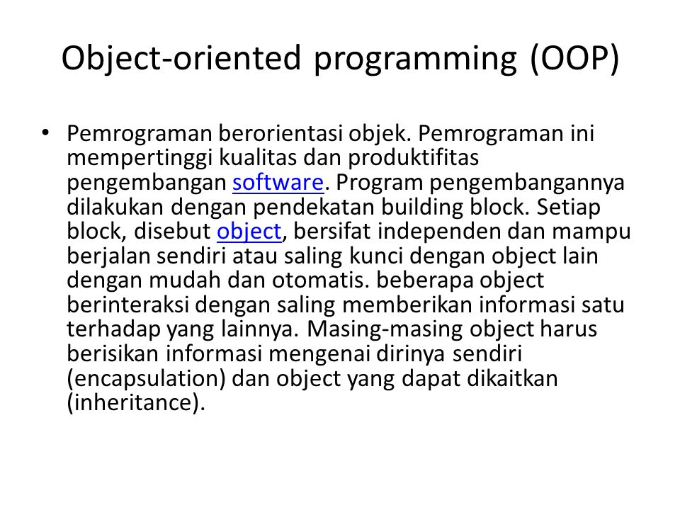 Object-oriented programming (OOP)