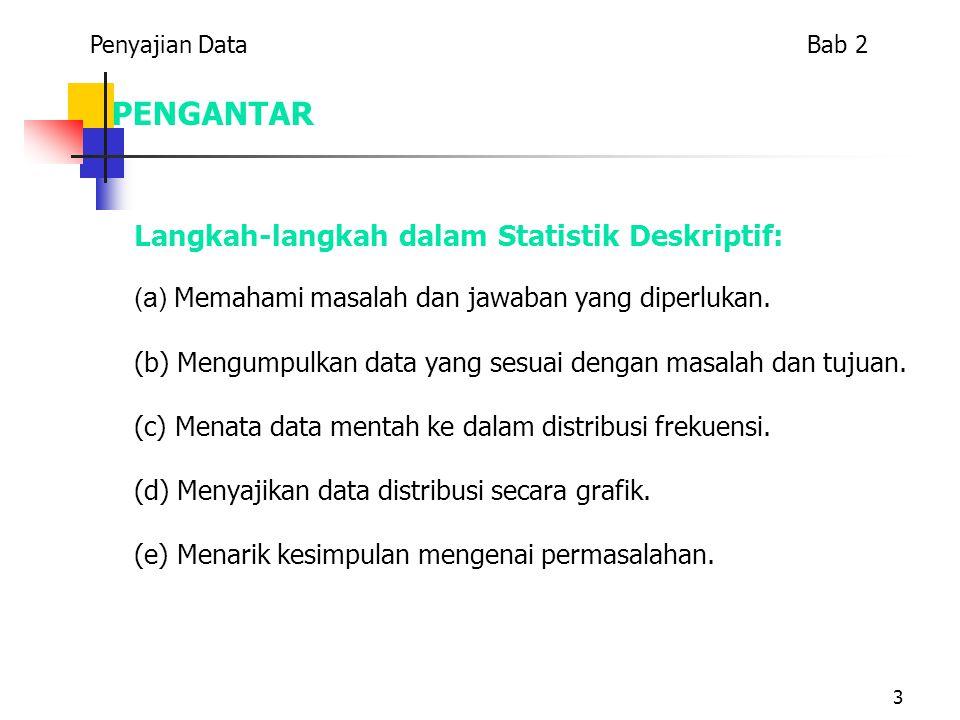 PENGANTAR Langkah-langkah dalam Statistik Deskriptif: