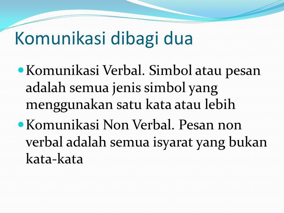 Komunikasi dibagi dua Komunikasi Verbal. Simbol atau pesan adalah semua jenis simbol yang menggunakan satu kata atau lebih.
