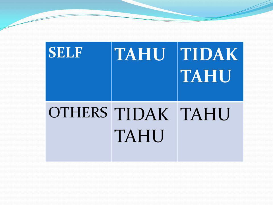SELF TAHU TIDAK TAHU OTHERS