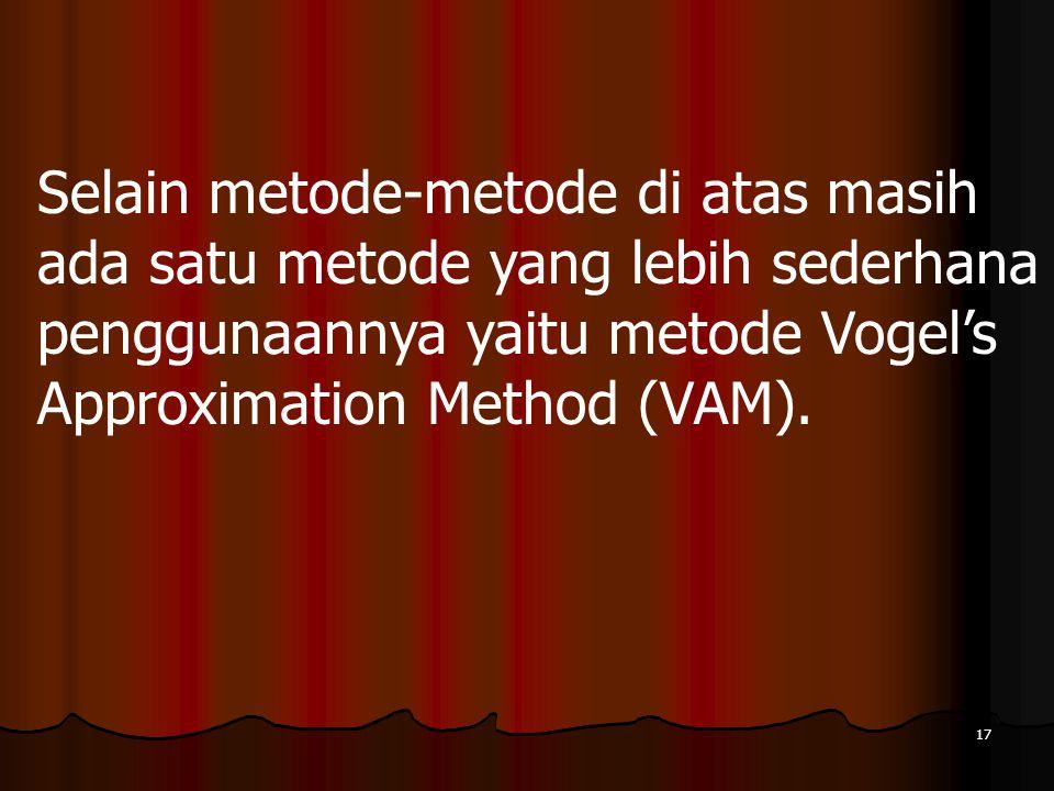 Selain metode-metode di atas masih ada satu metode yang lebih sederhana penggunaannya yaitu metode Vogel's Approximation Method (VAM).