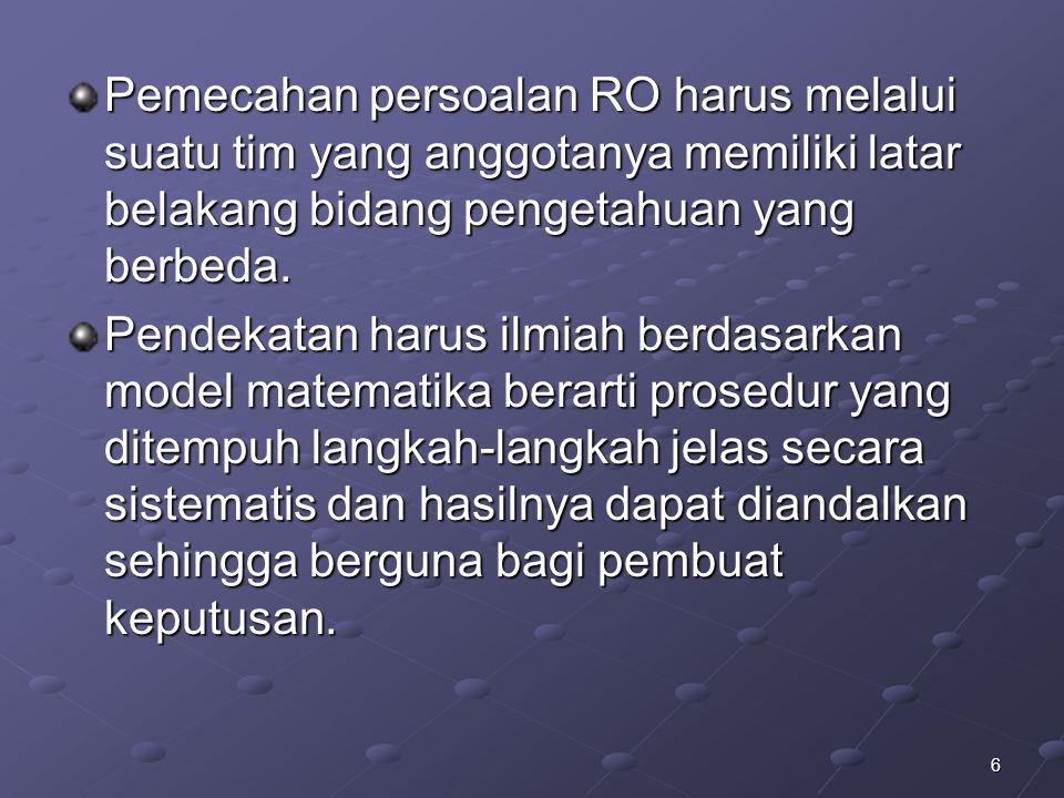 Pemecahan persoalan RO harus melalui suatu tim yang anggotanya memiliki latar belakang bidang pengetahuan yang berbeda.