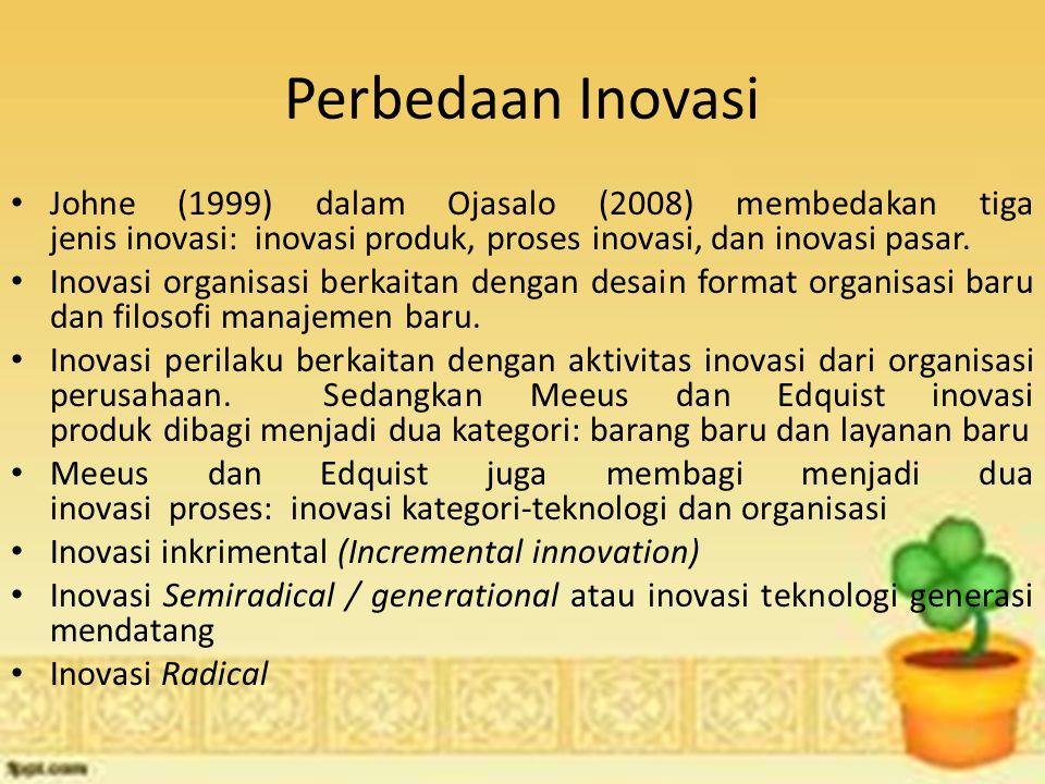 Perbedaan Inovasi Johne (1999) dalam Ojasalo (2008) membedakan tiga jenis inovasi: inovasi produk, proses inovasi, dan inovasi pasar.