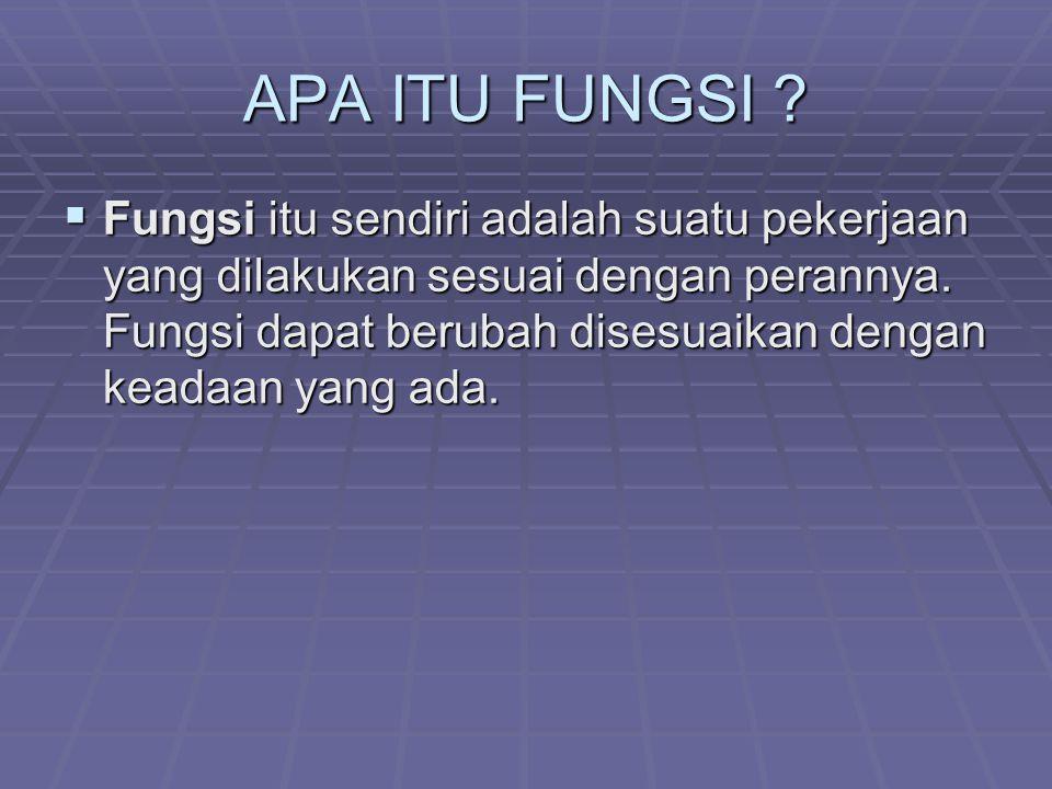 APA ITU FUNGSI
