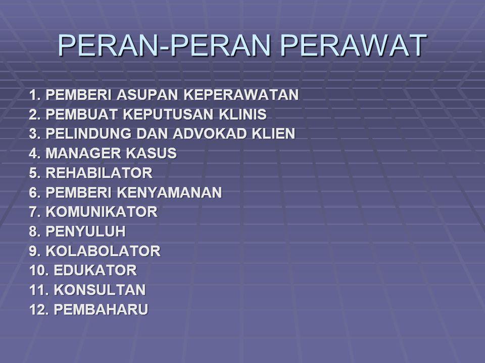 PERAN-PERAN PERAWAT 1. PEMBERI ASUPAN KEPERAWATAN