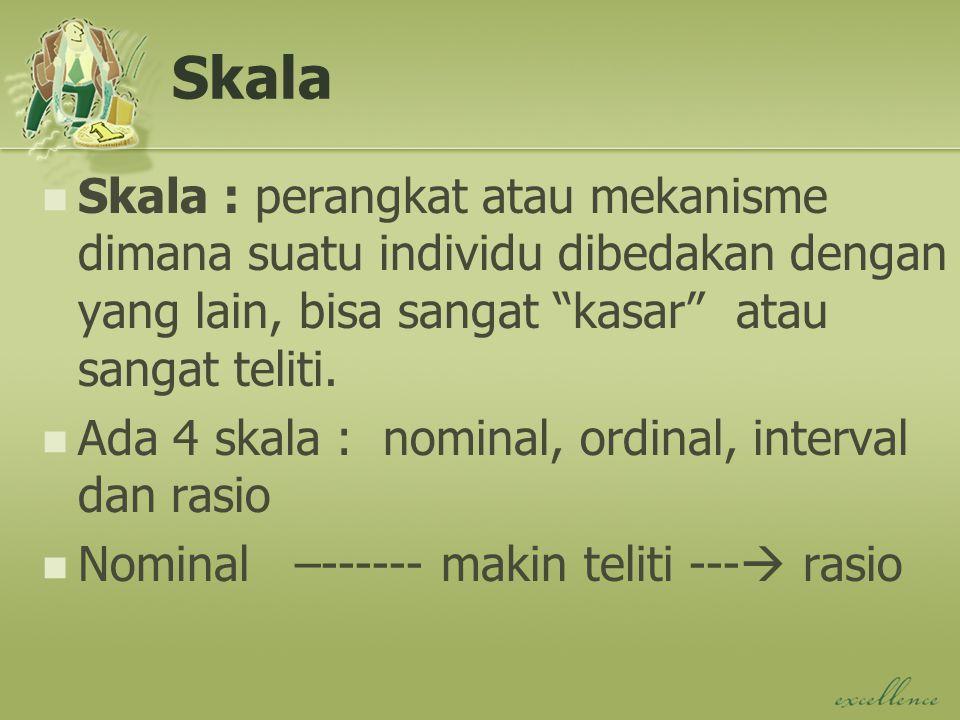 Skala Skala : perangkat atau mekanisme dimana suatu individu dibedakan dengan yang lain, bisa sangat kasar atau sangat teliti.