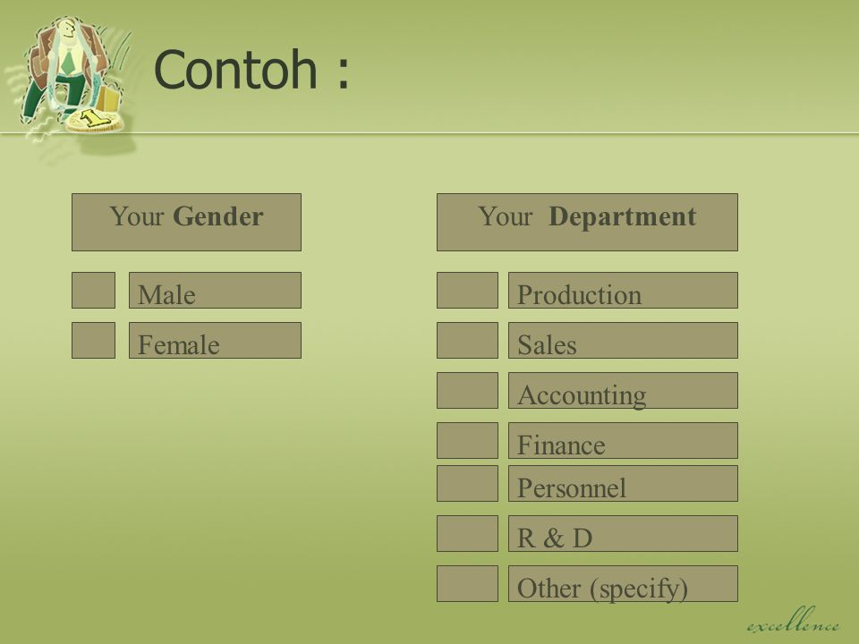 Contoh : Your Gender Your Department Male Production Female Sales