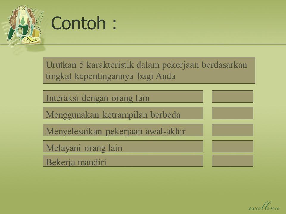 Contoh : Urutkan 5 karakteristik dalam pekerjaan berdasarkan