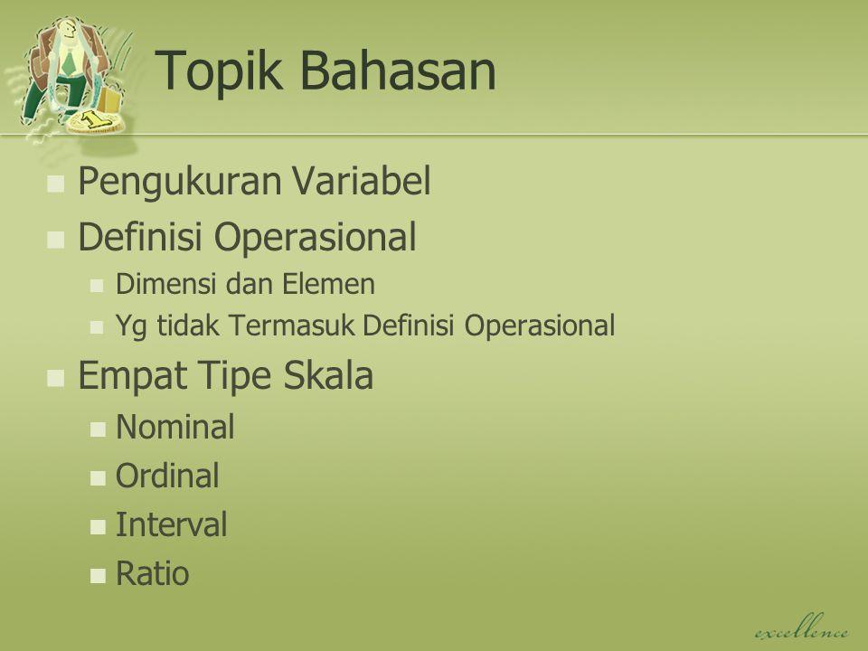 Topik Bahasan Pengukuran Variabel Definisi Operasional